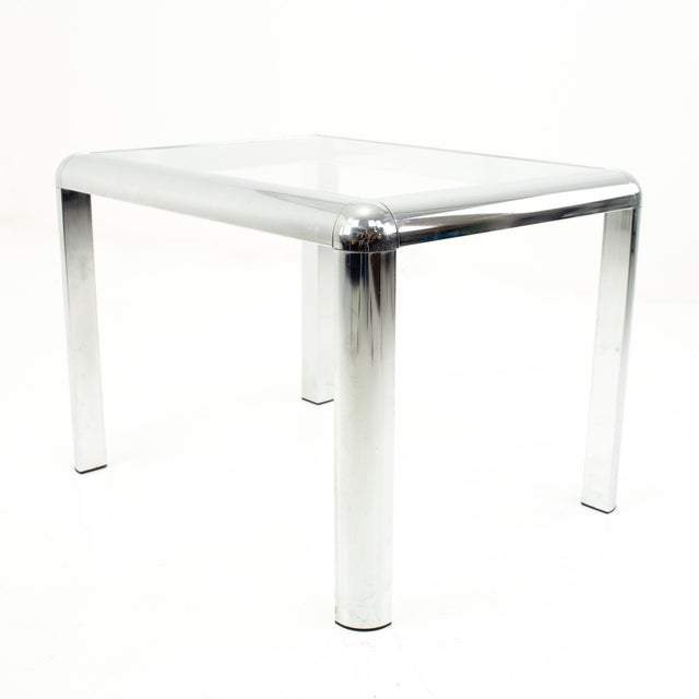 Milo Baughman Style Mid Century Chrome and Glass Side End Table For Sale - Image 9 of 10