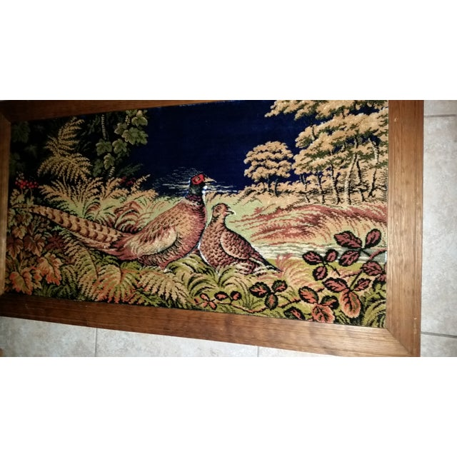 Vintage Pheasant Framed Rug Wall Art For Sale - Image 5 of 7