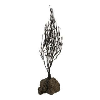 Mid 20th Century Metal Tree Sculpture on Lava Rock For Sale