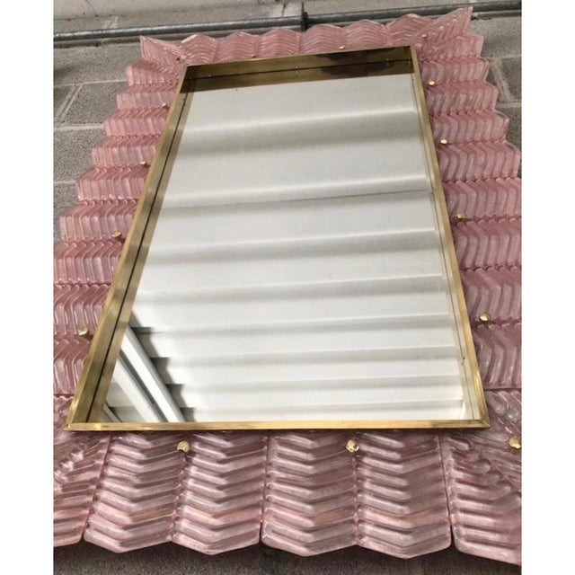Metal Bespoke Italian Art Deco Design Ruffled Silver Pink Murano Glass Brass Mirror For Sale - Image 7 of 9
