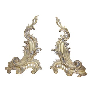 Louis XV Rococo Andirons - a Pair For Sale