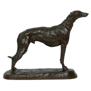 French Antique Bronze Sculpture of a Greyhound Dog by Emmanuel Fremiet For Sale