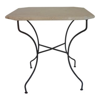Vintage French Iron Marble Top Side Table For Sale