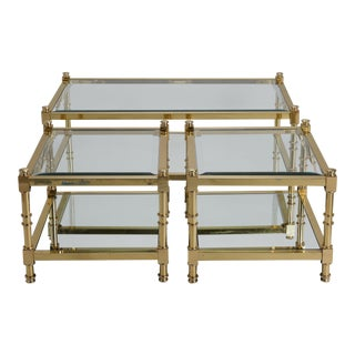Italian Mid Century Glass and Brass Tables- Set of 3 For Sale
