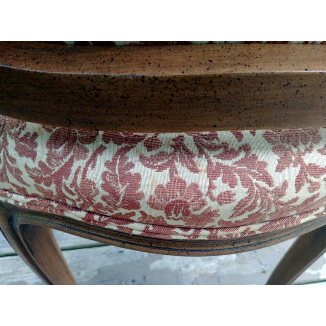 Vintage Louis XV French Carved Fruitwood Hardwood Arm Side Chair With Jacquard Upholstery For Sale - Image 9 of 13