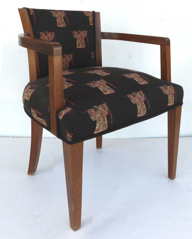 French Art Deco Chairs Upholstered In An Asian Motif, Pair   Image 3 Of 11