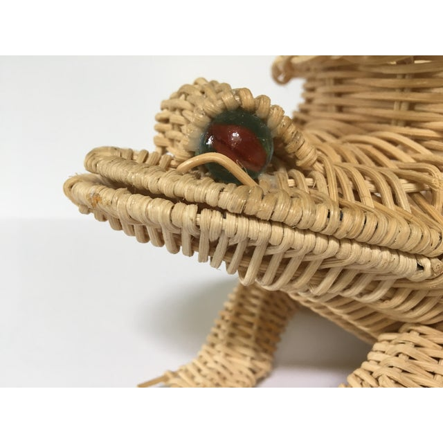 20th Century Cottage Marble Eyed Wicker Frog Planter/Catchall For Sale - Image 6 of 10