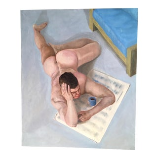 "1980s ""Sunday Morning"" Male Nude Reading Paper Painting For Sale"