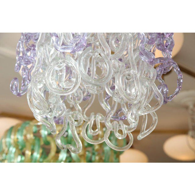 Glass Vintage Vistosi Lavender and Clear Murano Link Chandelier For Sale - Image 7 of 8