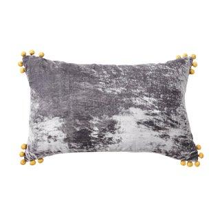 Omni Pewter Silk Velvet Lumbar Pillow For Sale