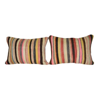 """Set of Two Turkish Kilim Pillow Cover 14"""" X 20"""" For Sale"""