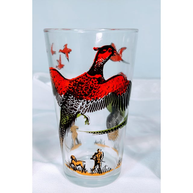 Folk Art Hazel Atlas Mid-Century Modern Pheasant Hunting Glasses - Set of 5 For Sale - Image 3 of 8