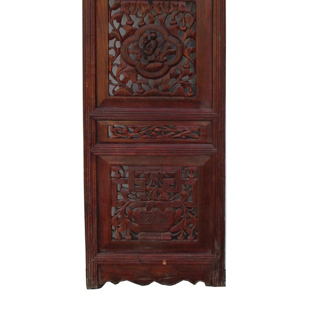 Vintage Chinese Flower Wood Panel - Image 4 of 4
