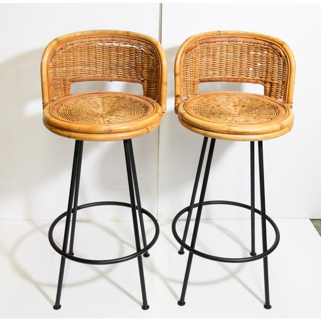 Vintage Swivel Woven Rattan Bar Stool, 1960s - a Pair For Sale - Image 12 of 13