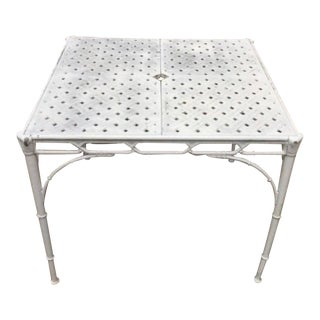 Vintage Brown Jordan Cast Aluminum Calcutta Faux Bamboo Table For Sale