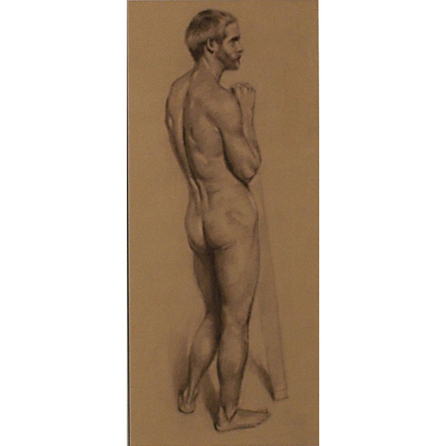 A well done finished drawing of a standing male nude by Gregory Hull. Done in Conte crayon on colored paper.