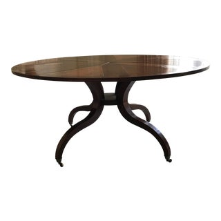 "Traditional Holly Hunt ""Bennett"" Round Wooden Center Table"