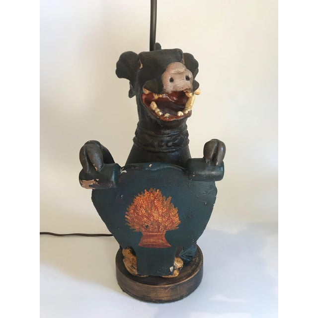 Figurative Antique Carved Wood Wild Boar Figure Holding a Painted Shield Lamp For Sale - Image 3 of 13
