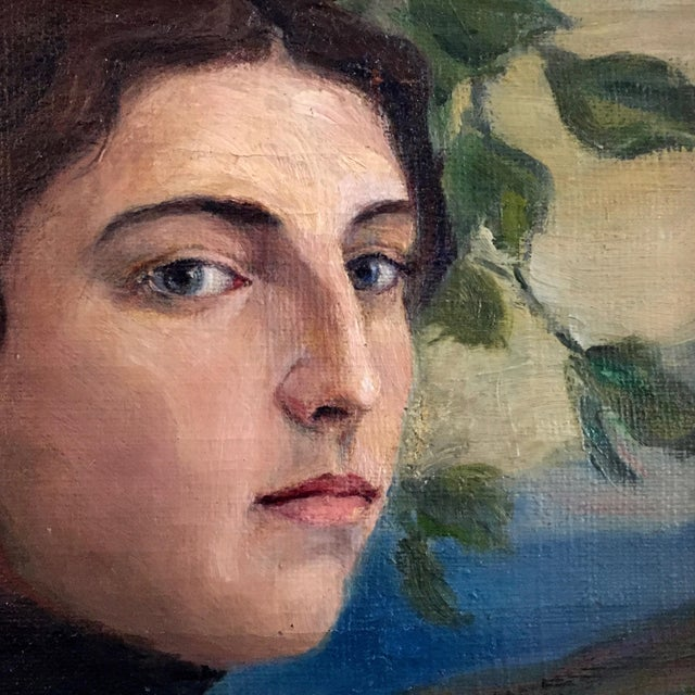 Mid-Century Modern 19th Century O/C Portrait of a Girl, Scandinavian For Sale - Image 3 of 7
