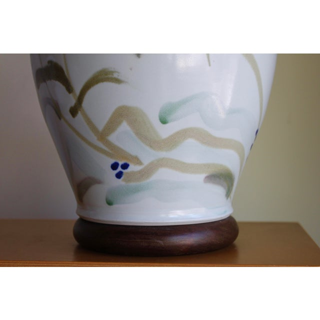 Art Deco Vintage Hand Painted Japanese Style Glenn Burris Studio Handmade Pottery Lamp For Sale - Image 3 of 10