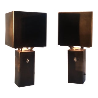 Bronze and Steel Graf Spee Table Lamps - A Pair For Sale