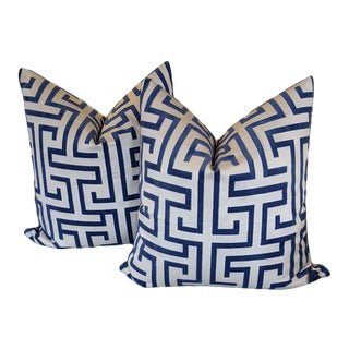 Ming Trail in Navy by Thibaut - a Pair of Pillow Covers For Sale