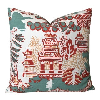 Thibaut Luzon in Aqua and Coral Pillow Cover For Sale