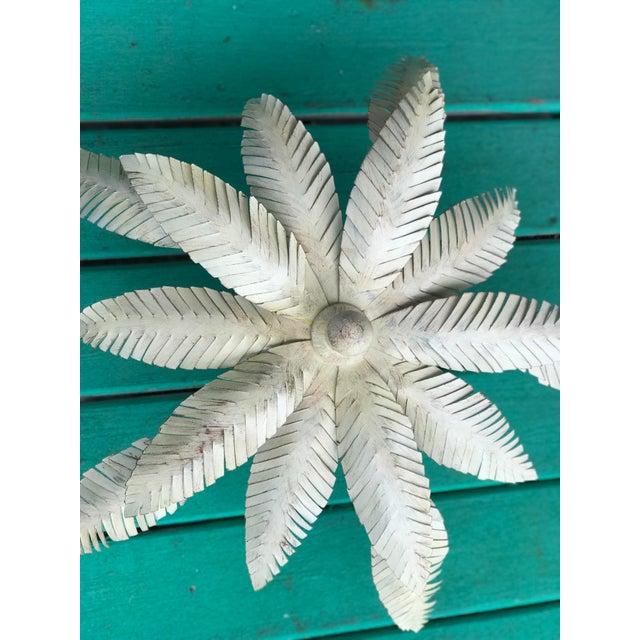 Vintage 1980s Regency Tole Palm Leaf Ceiling Light For Sale - Image 4 of 12