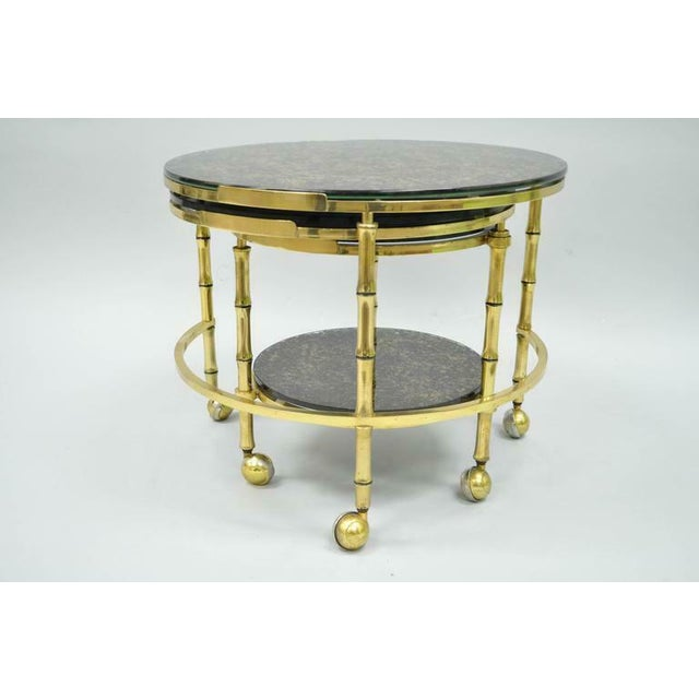 1970s Hollywood Regency Brass and Glass Faux Bamboo Round Nesting Expanding Cocktail Coffee Side Table For Sale - Image 10 of 11