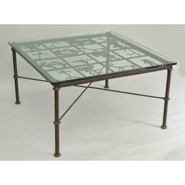 Metal and Glass Square Brutalist Coffee Table With Native American Glyph Figures For Sale - Image 10 of 11