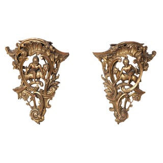 Pair of 19th Century Carved Giltwood Brackets For Sale