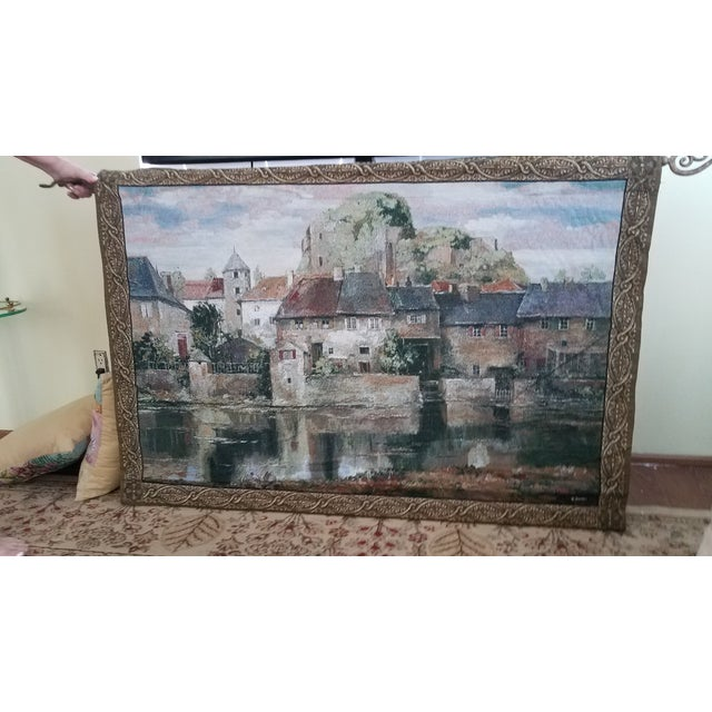 """1970s Vintage """"Mohawk"""" Classic Collection Roger Duvall Tapestry of La Seyne Sur Mer For Sale - Image 5 of 5"""