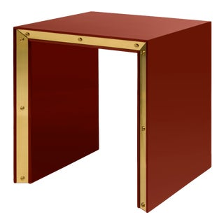 Flair Collection Large Edge Side Table in Cinnabar / Brass For Sale