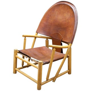Italian Leather Sling Chair Rustic Mid-Century Alps Cabin Ski Chalet Hoop Lounge For Sale