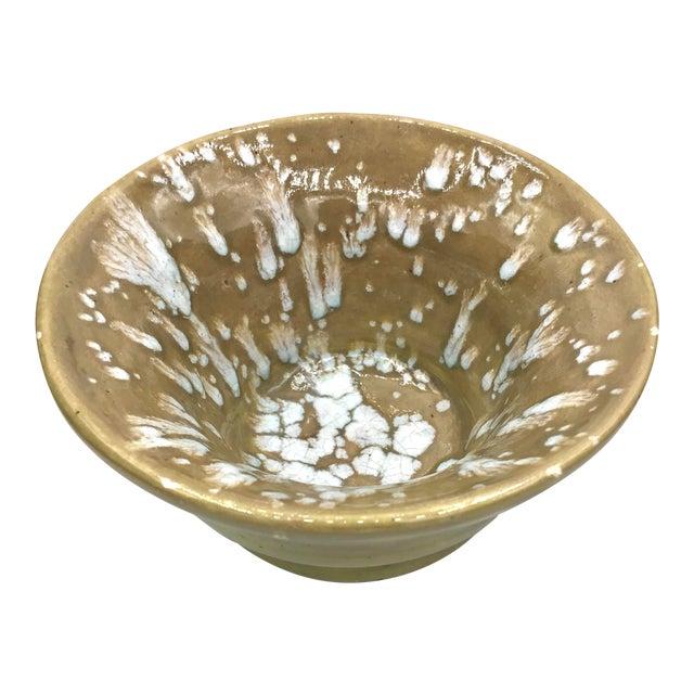 Modern Speckled Signed Studio Pottery Bowl For Sale