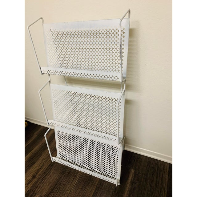 Industrial 1950s Folding Iron Magazine Book Stand Display Rack Shelf For Sale - Image 3 of 13