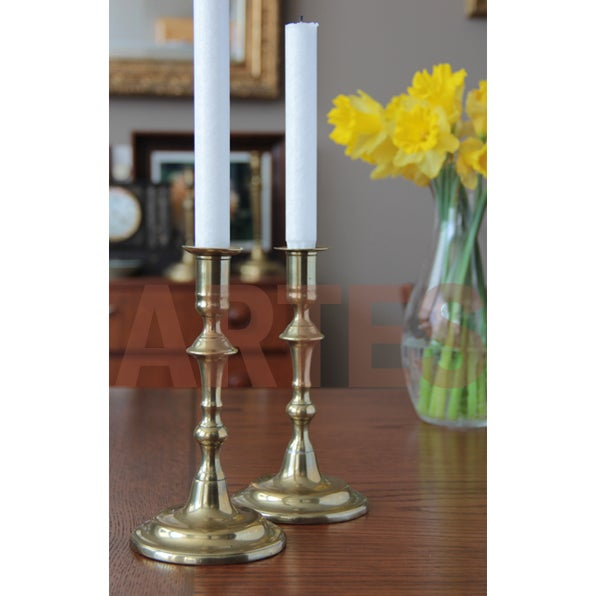 18th Century Queen Anne Brass Candlesticks . English - a Pair For Sale - Image 5 of 5