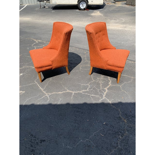 Vintage Mid Century Tweed Lounge Chairs- a Pair For Sale - Image 4 of 6
