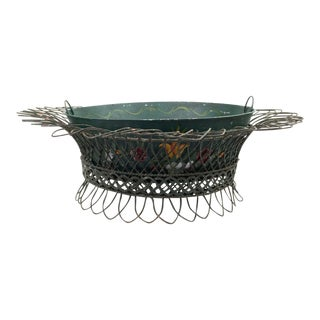 French Tole Hand Painted Mid-19th-Century Cachepot Planter With Wire Basket For Sale