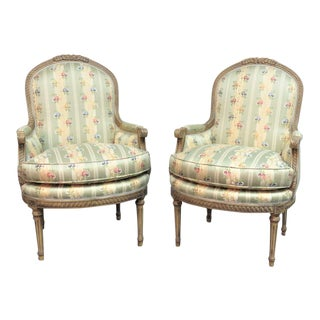 Lewis Mittman French Style Carved Bergere Chairs - a Pair