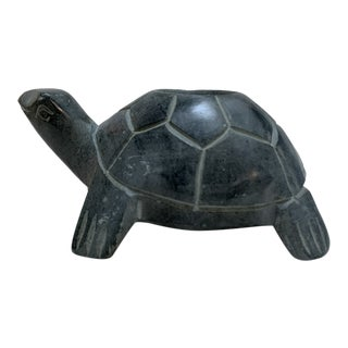 Vintage Earthy Carved Stone Turtle Candleholder For Sale