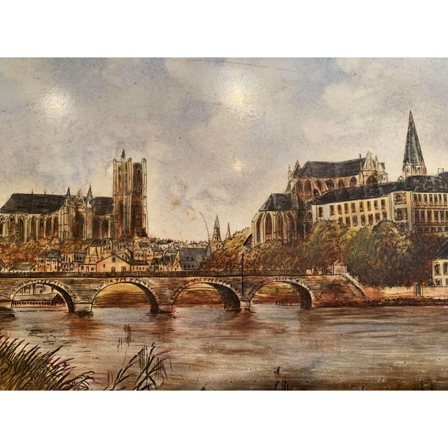 Late 19th Century 19th Century French Hand Painted Porcelain Plaque of the City of Auxerre For Sale - Image 5 of 7
