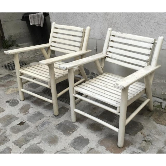 White French Riviera Beach House Pair of Lounge Chair For Sale - Image 8 of 8
