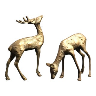 Vintage Brass Stag and Doe Figurines - Set of 2 For Sale
