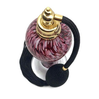 Maroon Art Glass Perfume Bottle W/Atomizer Preview