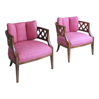 Mid Century Pink Lattice Back Barrel Chairs After William Billy Haines - a Pair For Sale