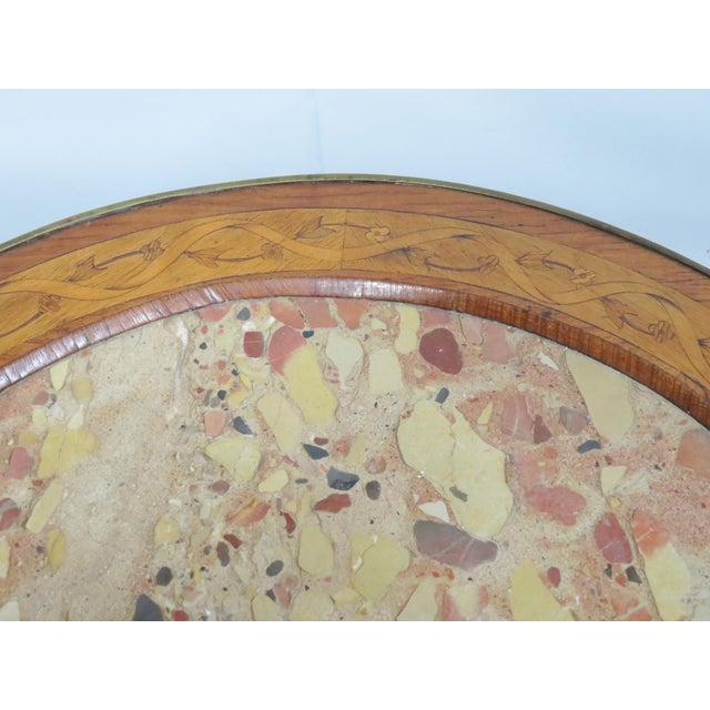 Brown Grosfeld Marble Top Satinwood Inlaid Center Table For Sale - Image 8 of 9