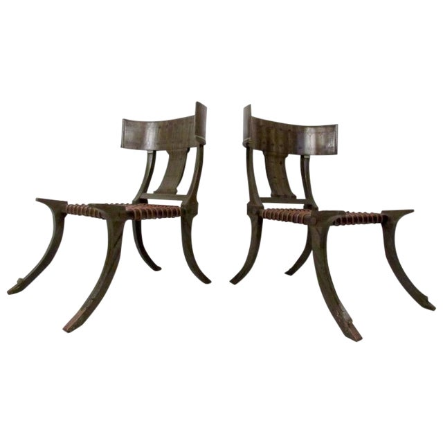 Pair of Mid-Century Snake Skin Klismos Chairs After Robsjohn-Gibbings For Sale