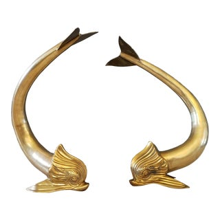 Dolbi Cashier Sculptural Brass Dolphin Figurines - a Pair For Sale