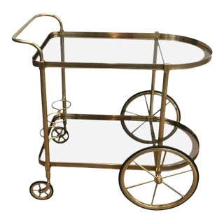 1960s French Brass and Smoked Glass Bar Cart